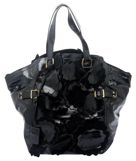 Saint Laurent Patent Leather Satin Tote in Black Image 0
