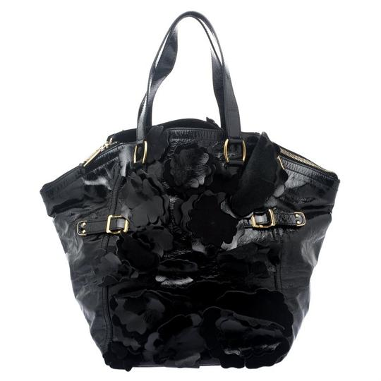 Saint Laurent Patent Leather Satin Tote in Black Image 1