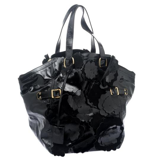 Saint Laurent Patent Leather Satin Tote in Black Image 3