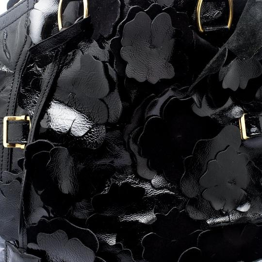 Saint Laurent Patent Leather Satin Tote in Black Image 6