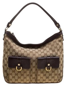 Gucci Leather Canvas Hobo Bag