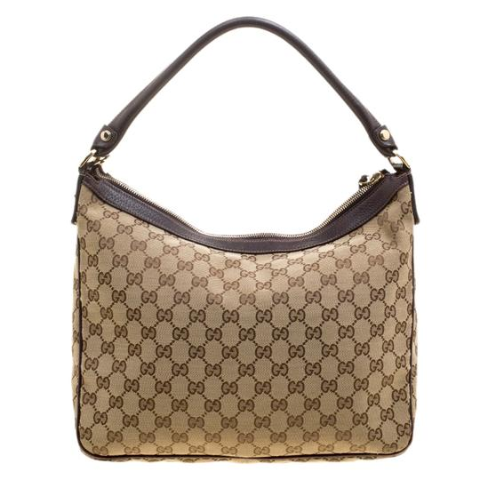 Gucci Leather Canvas Hobo Bag Image 1