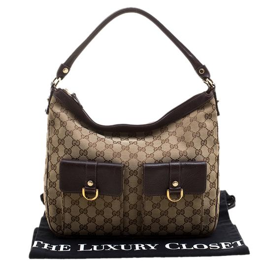 Gucci Leather Canvas Hobo Bag Image 11