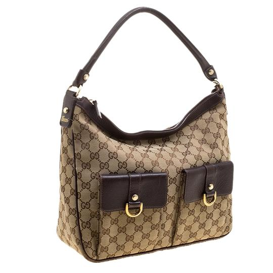 Gucci Leather Canvas Hobo Bag Image 3
