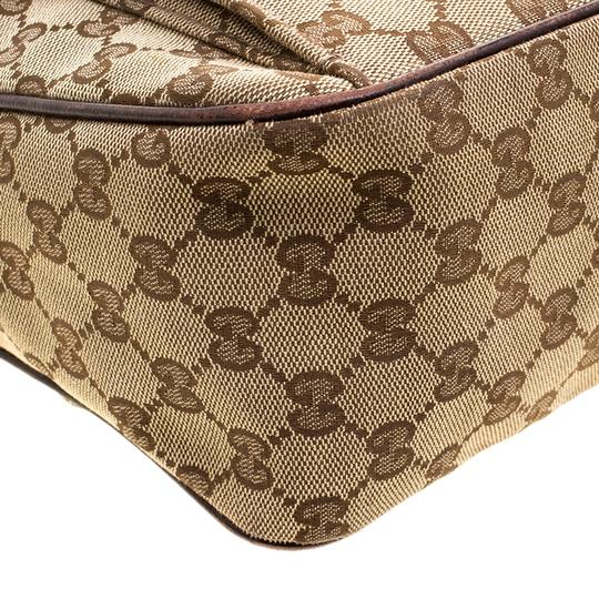 Gucci Leather Canvas Hobo Bag Image 9