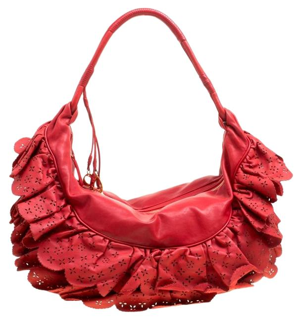 Item - Large Gypsy Ruffle Red Leather Hobo Bag