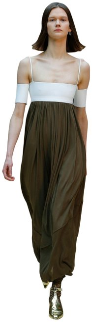 Item - Bronze White Jersey Sheer Crepe Bustier Long Casual Maxi Dress Size 6 (S)