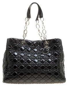 Dior Quilted Patent Leather Tote in Black