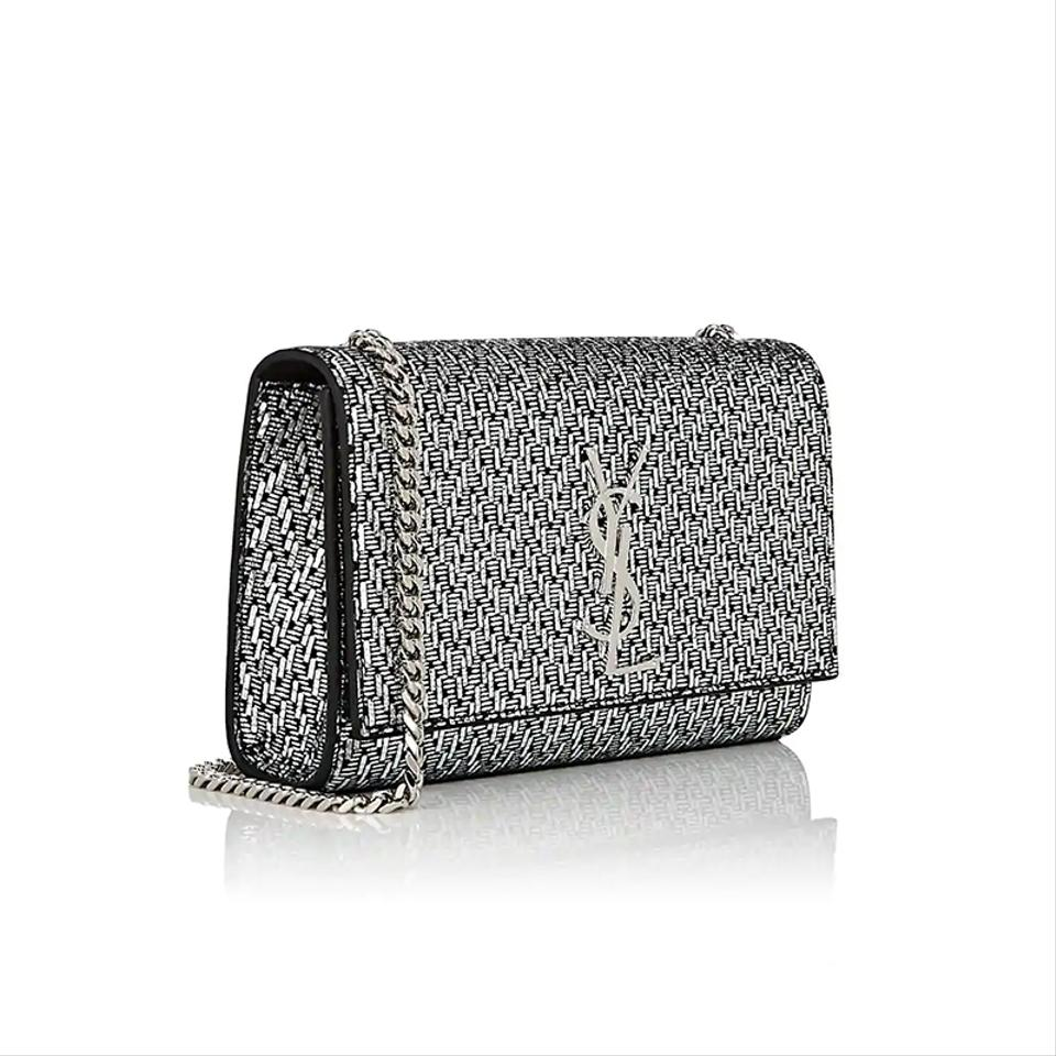 028484fa Saint Laurent Monogram Kate Monogram Ysl Small Chevron Metallic  Silver/Black Fabric with Leather Trim Cross Body Bag 9% off retail