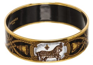 Hermès Hermes Black White Multicolor Horse Enamel Gold Plated Bangle Bracelet