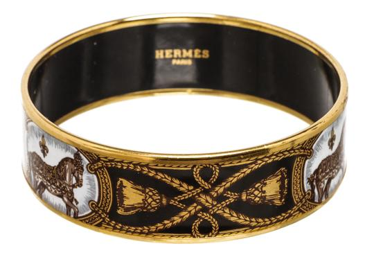 Hermès Hermes Black White Multicolor Horse Enamel Gold Plated Bangle Bracelet Image 2