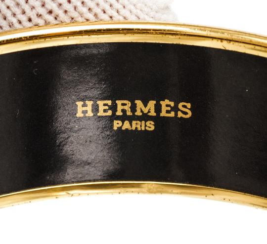 Hermès Hermes Black White Multicolor Horse Enamel Gold Plated Bangle Bracelet Image 5