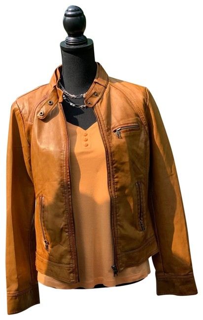 Item - Brown Super Posh Faux-leather By Jacket Size 10 (M)