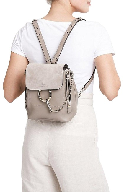 Item - Faye Small Suede Motty Grey Leather Backpack