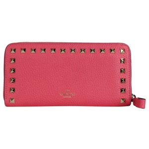 7a96c77a6a7 Valentino Pink Leather Rockstud Zip Around Wallet 7430