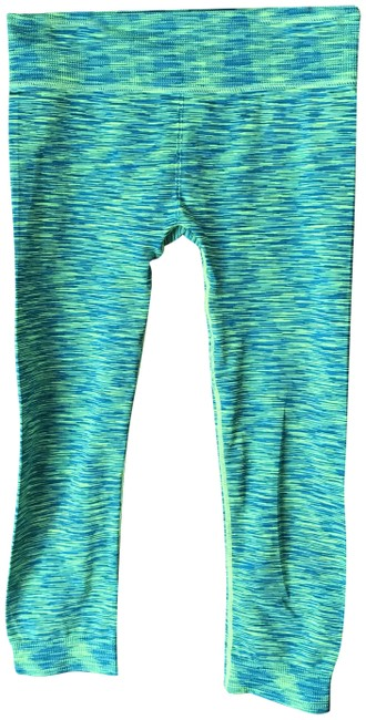 Item - Green and Neon Cropped Workout/Yoga Activewear Bottoms Size 8 (M, 29, 30)