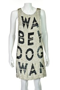 Beau Souci short dress Black & White Wanabe Sequined Sequins Tank Graphic on Tradesy