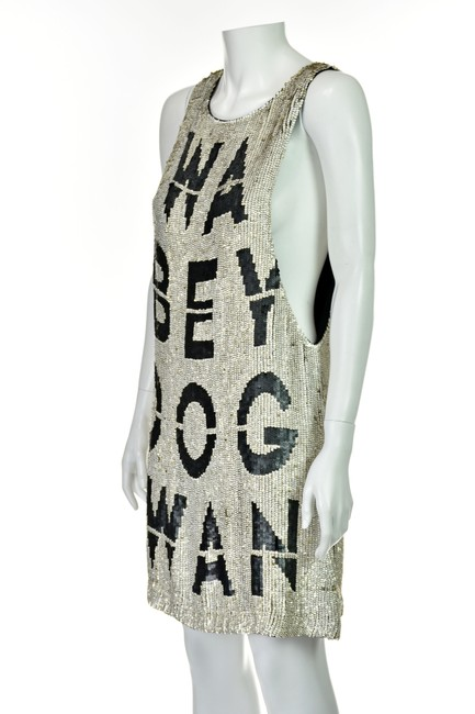 Beau Souci short dress Black & White Wanabe Sequined Sequins Tank Graphic on Tradesy Image 1