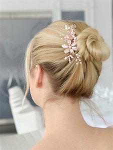 Rose Gold Fresh Water Pearls Crystals Hair Accessory