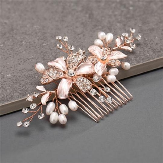 Rose Gold Fresh Water Pearls Crystals Hair Accessory Image 1