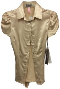 Lipsy Cap Sleeve Sateen Tie Buttons European Top Beige Cream