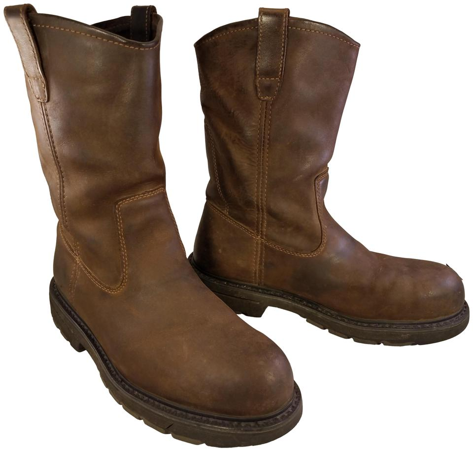 c4405dbdfdd Wolverine Brown Steel Toe Work Safety Rancher Leather Boots/Booties Size US  10 Wide (C, D)