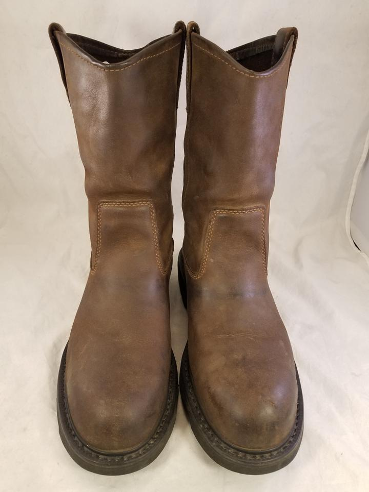 7b49db19d85 Wolverine Brown Steel Toe Work Safety Rancher Leather Boots/Booties Size US  10 Wide (C, D)