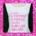Other Racerback Novelty Animal Lover Workout Fun Top White w/Pink Letters Image 2