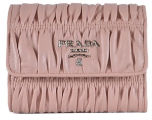 Prada New Prada Pink Nappa Ruched Leather Trifold Wallet W/Coin Pocket