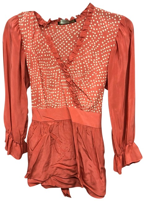 Preload https://img-static.tradesy.com/item/25505787/bcbgmaxazria-orange-self-tie-waist-printed-silk-blouse-s-tee-shirt-size-6-s-0-1-650-650.jpg