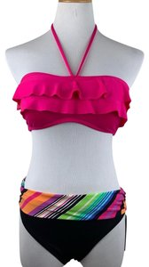 Kenneth Cole Reaction Kenneth Cole Reaction pink two piece bikini with Tiered bandeau top and banded bottoms