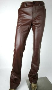 Prada Burgundy Men's Leather Pants Eu 48 R / Us 32 Upp190 Groomsman Gift