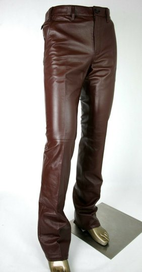 Prada Burgundy Men's Leather Pants Eu 48 R / Us 32 Upp190 Groomsman Gift Image 1