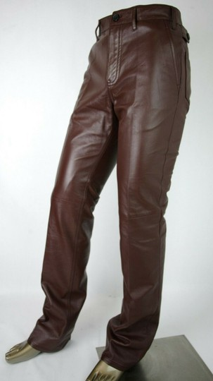Prada Burgundy Men's Leather Pants Eu 48 R / Us 32 Upp190 Groomsman Gift Image 2