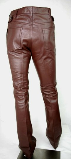 Prada Burgundy Men's Leather Pants Eu 48 R / Us 32 Upp190 Groomsman Gift Image 3