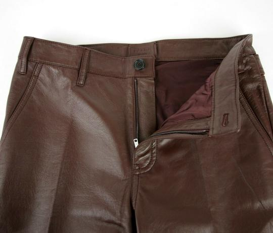 Prada Burgundy Men's Leather Pants Eu 48 R / Us 32 Upp190 Groomsman Gift Image 4