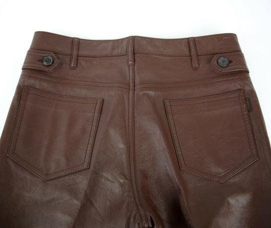 Prada Burgundy Men's Leather Pants Eu 48 R / Us 32 Upp190 Groomsman Gift Image 6