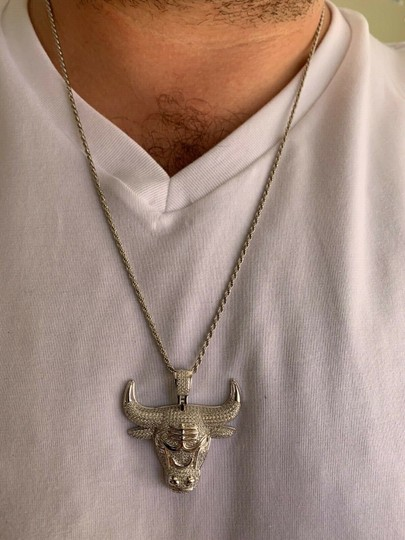 Harlembling Real Solid 925 Silver Chicago Bulls Pendant Iced Out Chain 1.5x1.5