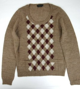 Prada Brown/Beige Brown/Beige Alpaca Argyle Pullover Sweater Eu 46/Us 36 Uma584 Groomsman Gift