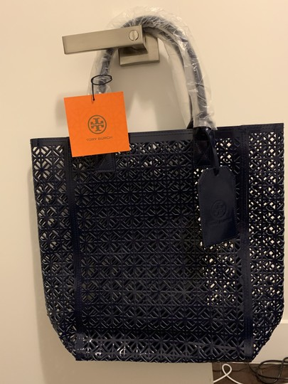 Tory Burch Limited Edition Party Patent Exclusive Blue Beach Bag Image 1