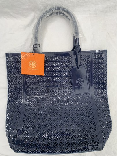 Tory Burch Limited Edition Party Patent Exclusive Blue Beach Bag Image 7