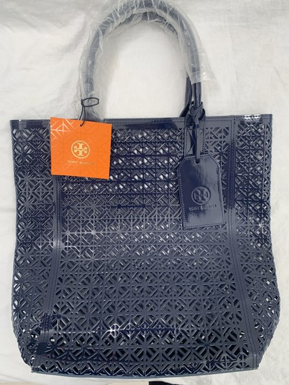 Tory Burch Limited Edition Party Patent Exclusive Blue Beach Bag Image 8
