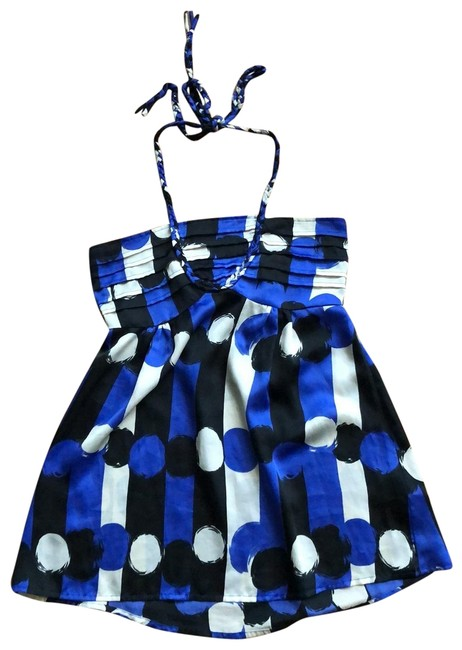Item - Black Blue and White Braided Halter Tie Tunic Size 4 (S)