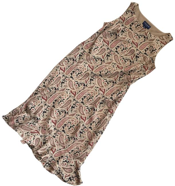 Preload https://img-static.tradesy.com/item/25506347/ann-taylor-tan-red-paisley-silk-ruffle-bottom-sleeveless-4p-mid-length-night-out-dress-size-petite-4-0-1-650-650.jpg