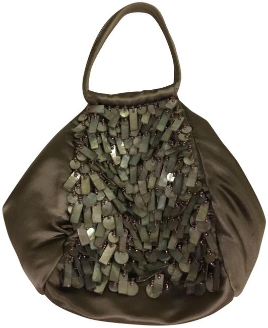 Item - Evening Bag And Taupe Satin Abalone Mother Of Pearl Wristlet