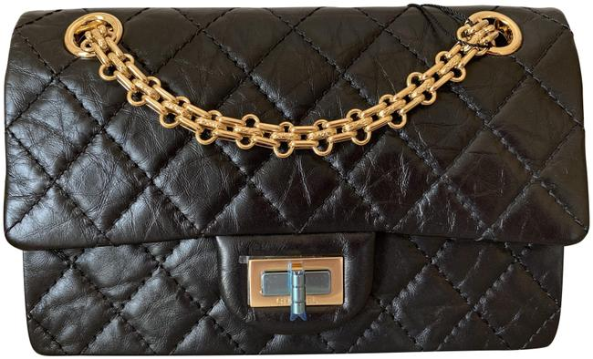 Item - 2.55 Reissue Reissue Quilted Single Flap Shiny Gold Tone Chain Black Aged Leather Shoulder Bag
