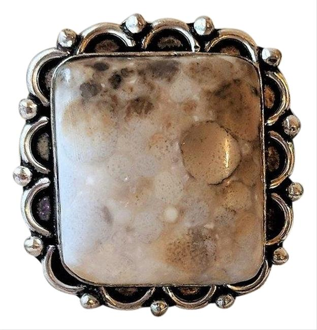 Item - Brown Artisan Crafted Large Square Sterling Silver Spotted Jasper 8 Ring