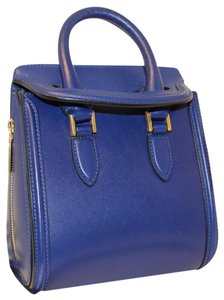 Alexander McQueen Bold Color-blocking Leather Satchel in Cobalt Blue