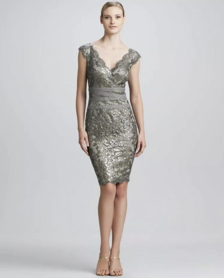 753915c8 Tadashi Shoji Smoked Pearl Sequin Lace Sheath Short Night Out Dress ...