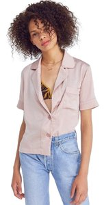 Urban Outfitters Pajama Button Down Button Down Top light pink